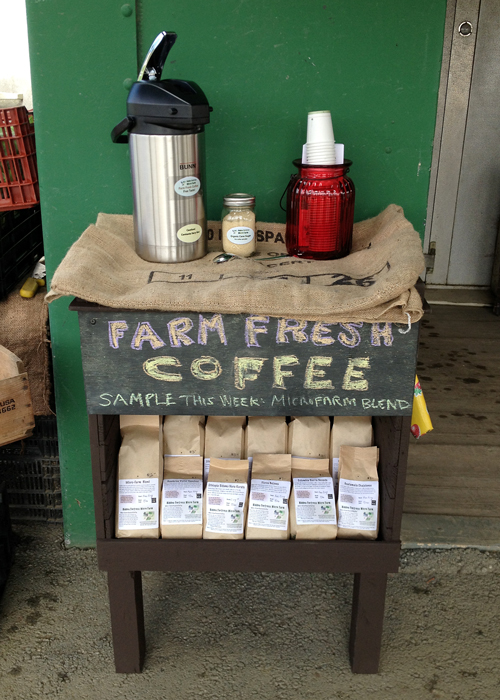 Our coffee on display at the Redman House Farm stand