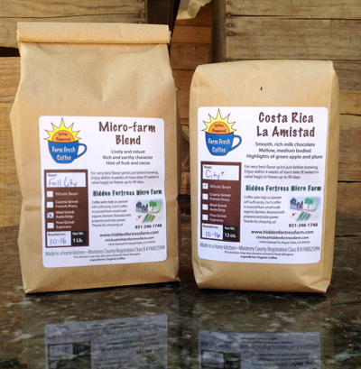 Our Micro Farm roasted organic coffee