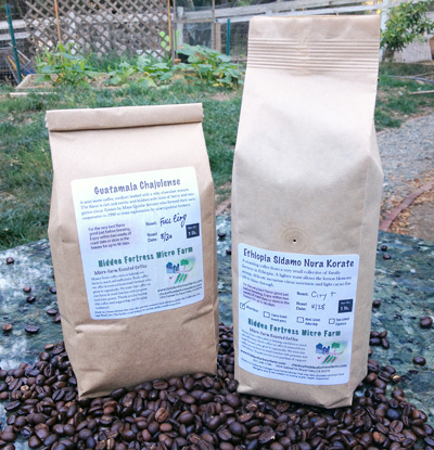 A bag of our signature Micro Farm Blend organic coffee